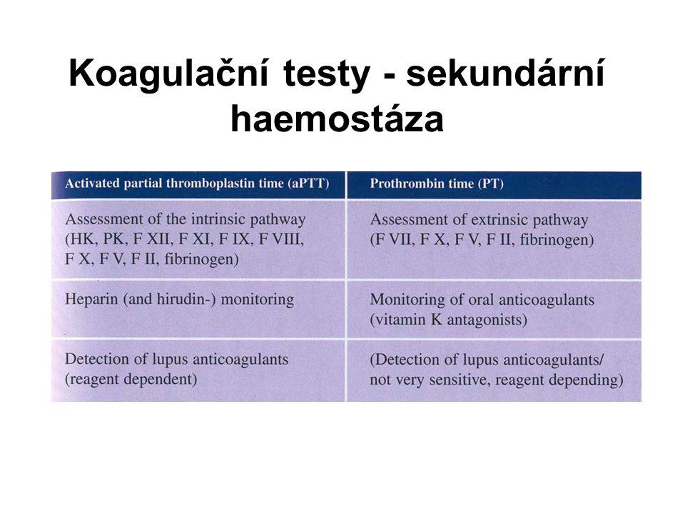 Koagulační testy - sekundární haemostáza