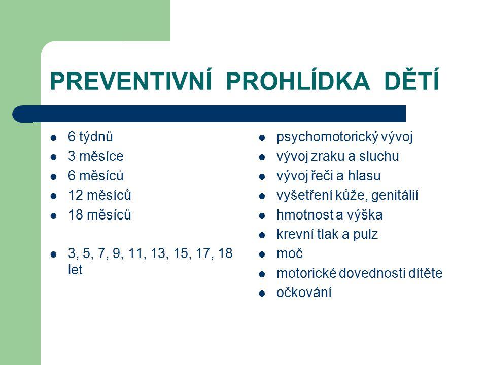 PREVENTIVNÍ PROHLÍDKA DĚTÍ 6 týdnů 3 měsíce 6 měsíců 12 měsíců 18 měsíců 3, 5, 7, 9, 11, 13, 15, 17, 18 let psychomotorický vývoj vývoj zraku a sluchu