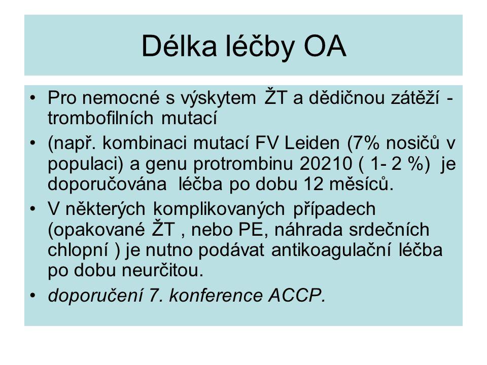 Délka léčby OA Pro nemocné s výskytem ŽT a dědičnou zátěží - trombofilních mutací (např. kombinaci mutací FV Leiden (7% nosičů v populaci) a genu prot