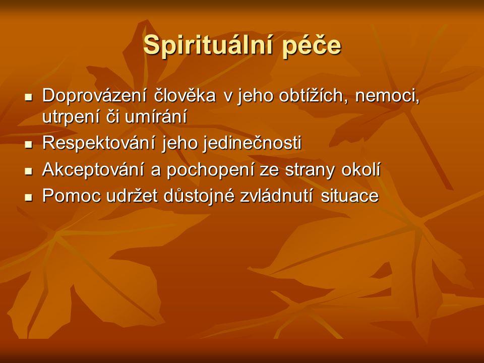 Spirituální péče Doprovázení člověka v jeho obtížích, nemoci, utrpení či umírání Doprovázení člověka v jeho obtížích, nemoci, utrpení či umírání Respe