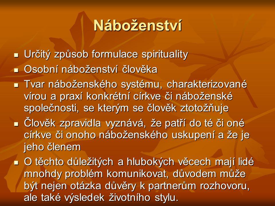 Náboženství Určitý způsob formulace spirituality Určitý způsob formulace spirituality Osobní náboženství člověka Osobní náboženství člověka Tvar nábož