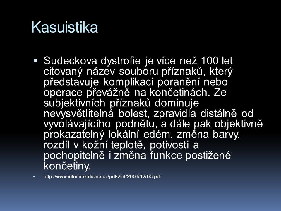 Kasuistika  Sudeckova dystrofie je více než 100 let citovaný název souboru příznaků, který představuje komplikaci poranění nebo operace převážně na k