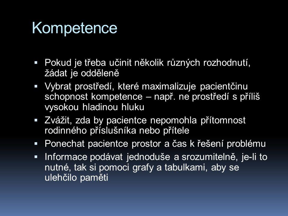 Kompetence  Pokud je třeba učinit několik různých rozhodnutí, žádat je odděleně  Vybrat prostředí, které maximalizuje pacientčinu schopnost kompeten