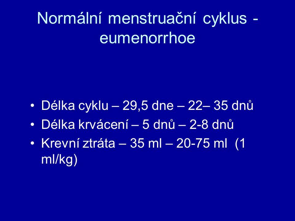Krvácení z průniku a ze spádu  Krvácení z průniku – slabé krvácení při setrvalé hladině estrogenů – endometrium doroste určité výšky, kdy se projeví relativní nedostatek estrogenů  Krvácení ze spádu – krvácení při poklesu hladiny estrogenů/progesteronu  Endometrium se odlučuje  Menstruace
