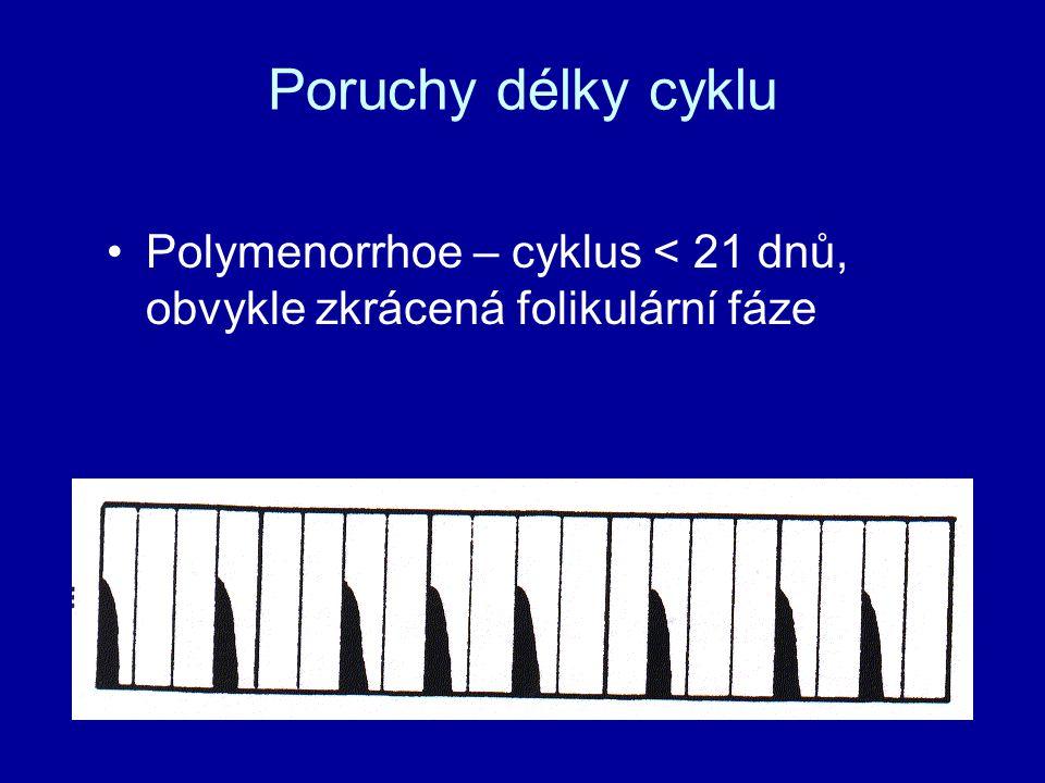 Poruchy délky cyklu Polymenorrhoe – cyklus < 21 dnů, obvykle zkrácená folikulární fáze