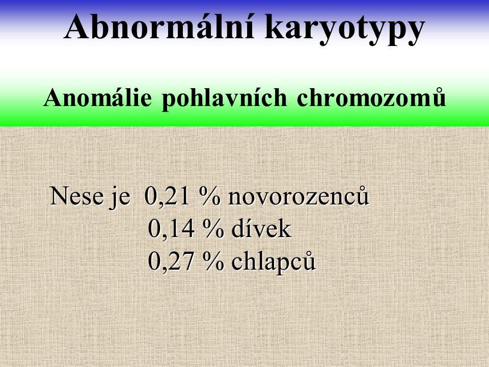 Nese je 0,21 % novorozenců 0,14 % dívek 0,14 % dívek 0,27 % chlapců 0,27 % chlapců Anomálie pohlavních chromozomů Abnormální karyotypy
