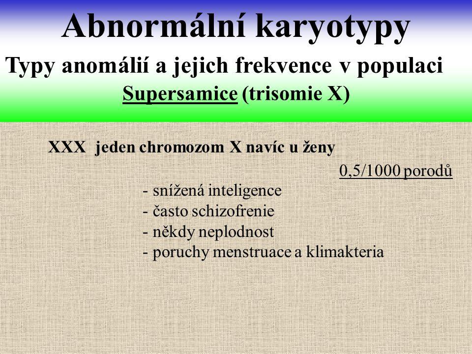 Supersamice (trisomie X) Abnormální karyotypy Typy anomálií a jejich frekvence v populaci XXX jeden chromozom X navíc u ženy - snížená inteligence - č