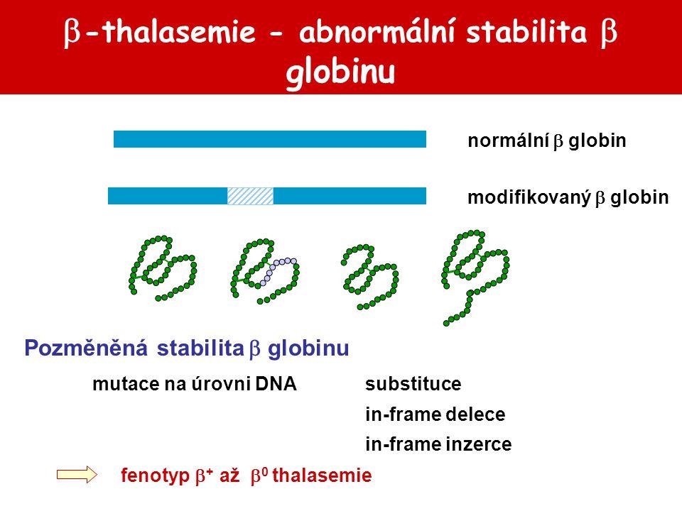  -thalasemie - abnormální stabilita  globinu Pozměněná stabilita  globinu mutace na úrovni DNA substituce in-frame delece in-frame inzerce fenotyp