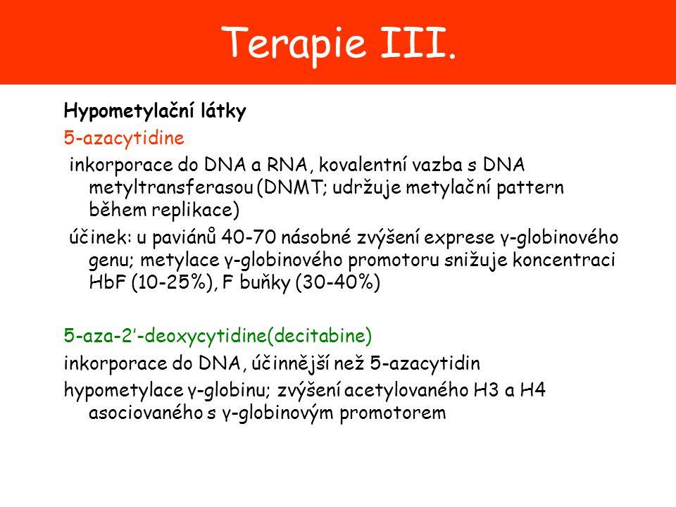 Terapie III. Hypometylační látky 5-azacytidine inkorporace do DNA a RNA, kovalentní vazba s DNA metyltransferasou (DNMT; udržuje metylační pattern běh
