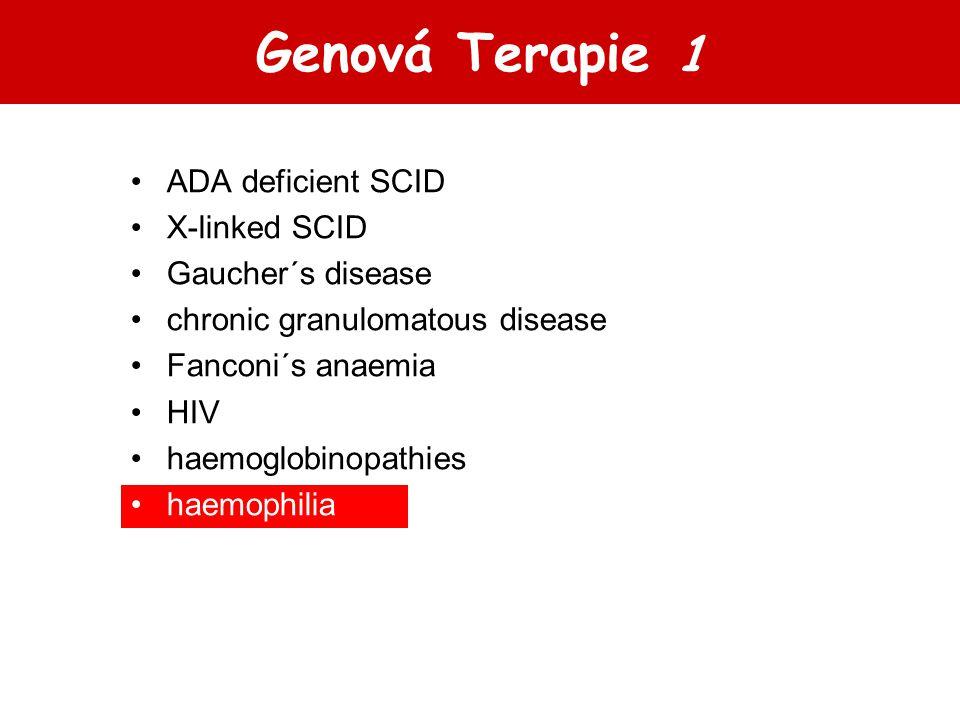 Genová Terapie 1 ADA deficient SCID X-linked SCID Gaucher´s disease chronic granulomatous disease Fanconi´s anaemia HIV haemoglobinopathies haemophili