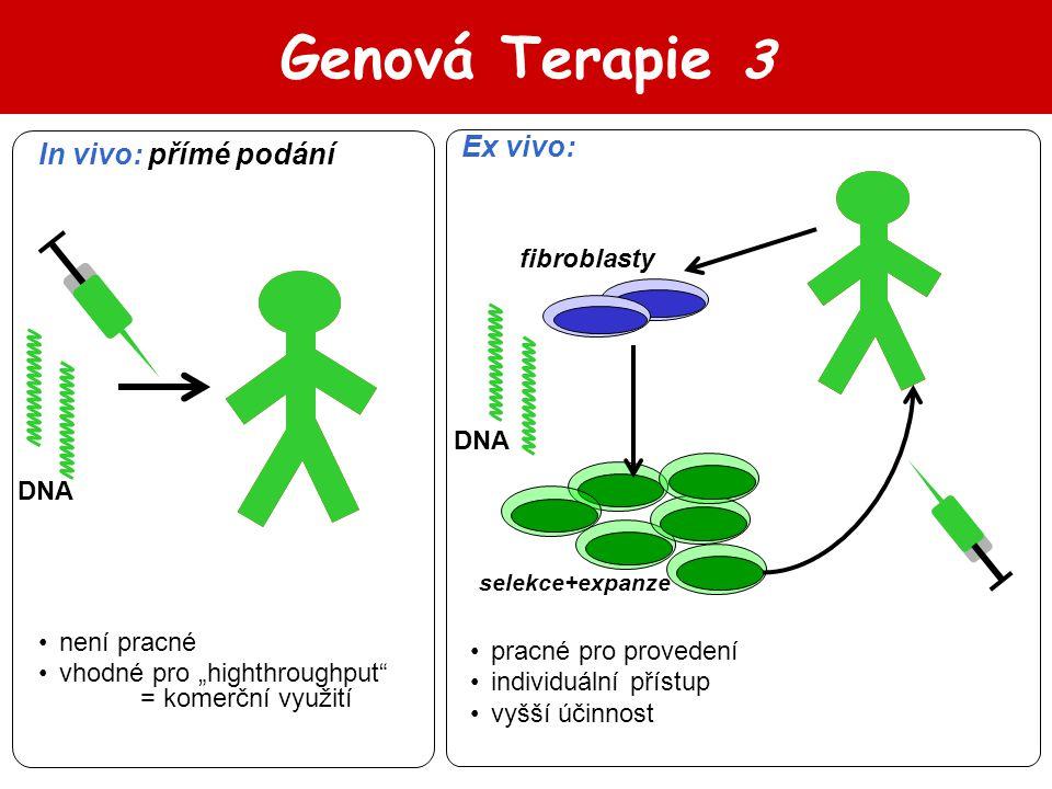"""Genová Terapie 3 In vivo: přímé podání Ex vivo: není pracné vhodné pro """"highthroughput"""" = komerční využití pracné pro provedení individuální přístup v"""
