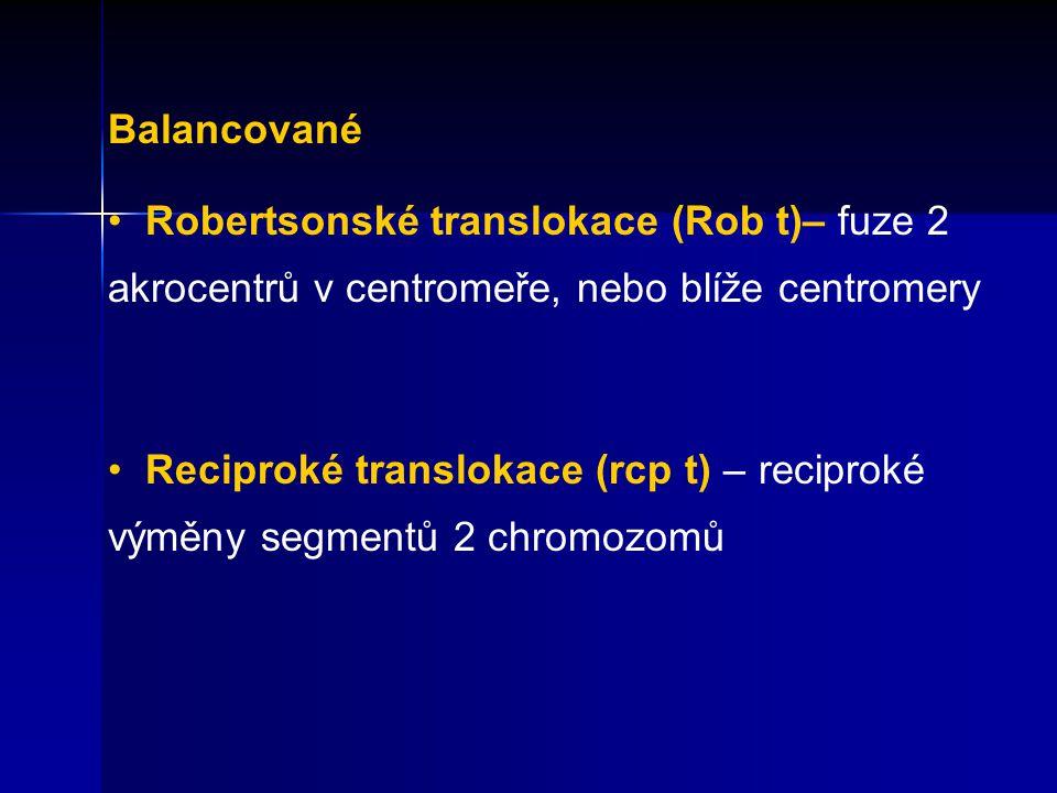 Balancované Robertsonské translokace (Rob t)– fuze 2 akrocentrů v centromeře, nebo blíže centromery Reciproké translokace (rcp t) – reciproké výměny s