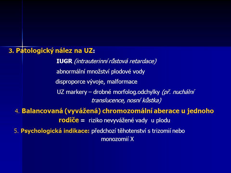 3. Patologický nález na UZ : IUGR (intrauterinní růstová retardace) abnormální množství plodové vody disproporce vývoje, malformace UZ markery – drobn