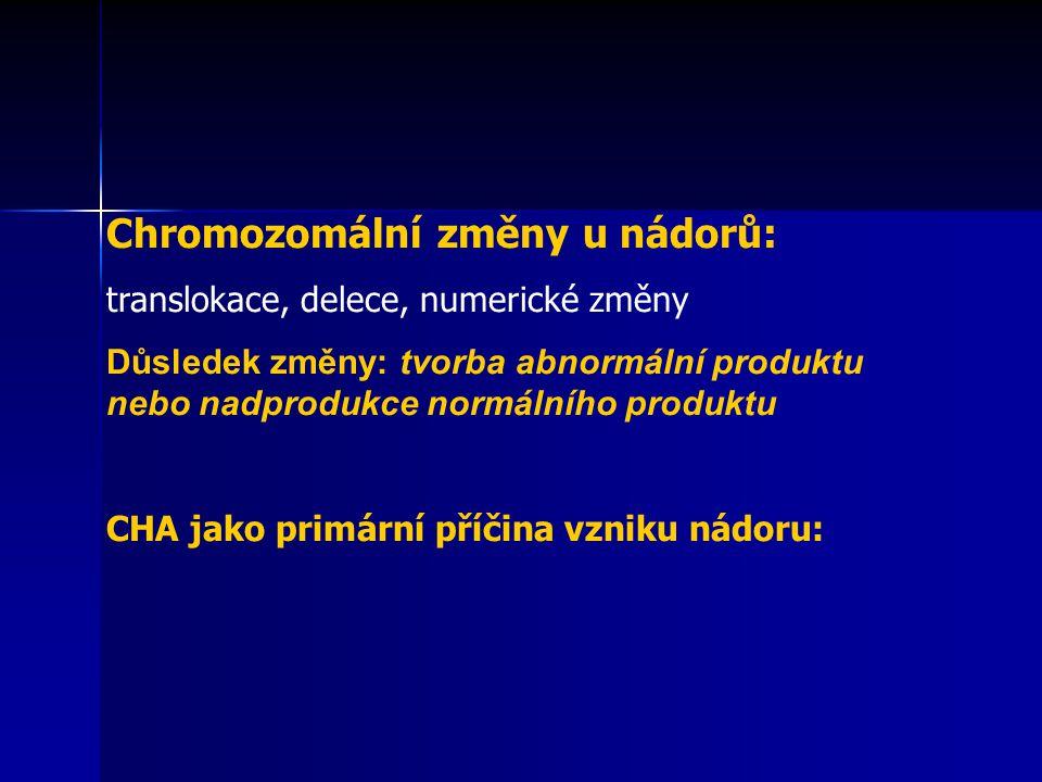 Chromozomální změny u nádorů: translokace, delece, numerické změny Důsledek změny: tvorba abnormální produktu nebo nadprodukce normálního produktu CHA