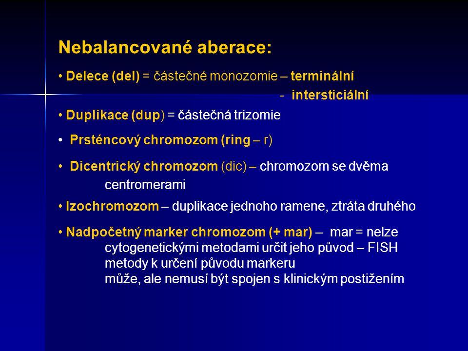 Nebalancované aberace: Delece (del) = částečné monozomie – terminální - intersticiální Duplikace (dup) = částečná trizomie Prsténcový chromozom (ring