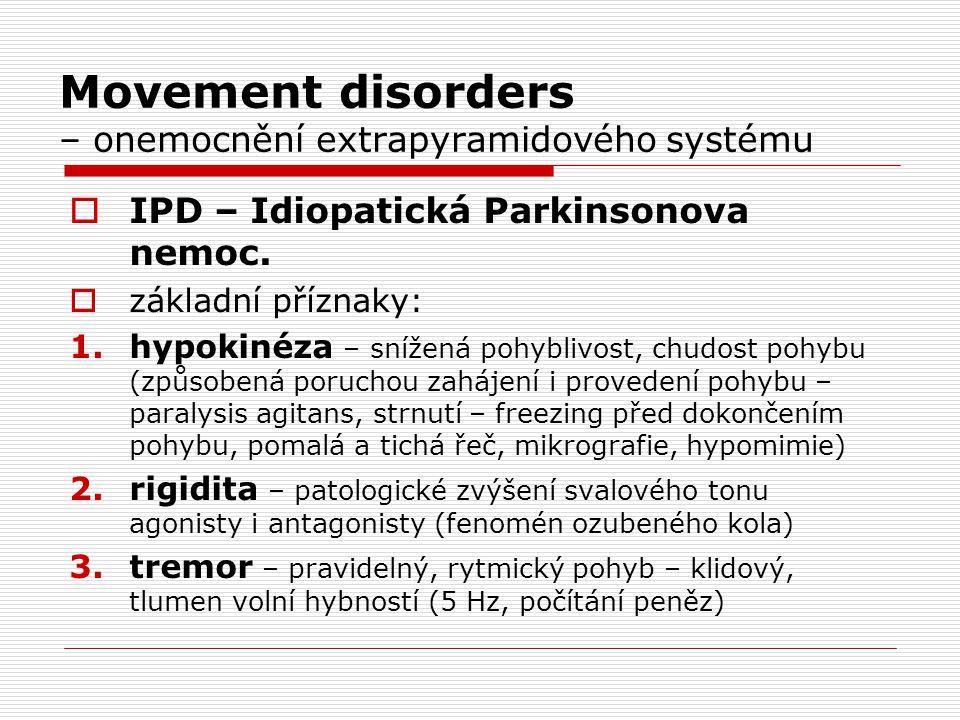 Movement disorders – onemocnění extrapyramidového systému  IPD – Idiopatická Parkinsonova nemoc.  základní příznaky: 1.hypokinéza – snížená pohybliv