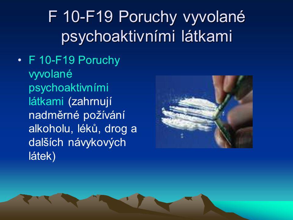 F 20-F29 Schizofrenie F 20-F29 Schizofrenie (skupina poruch, pro které je charakteristická ztráta kontaktu s realitou, výrazné poruchy vnímání a myšlení a bizarní chování.