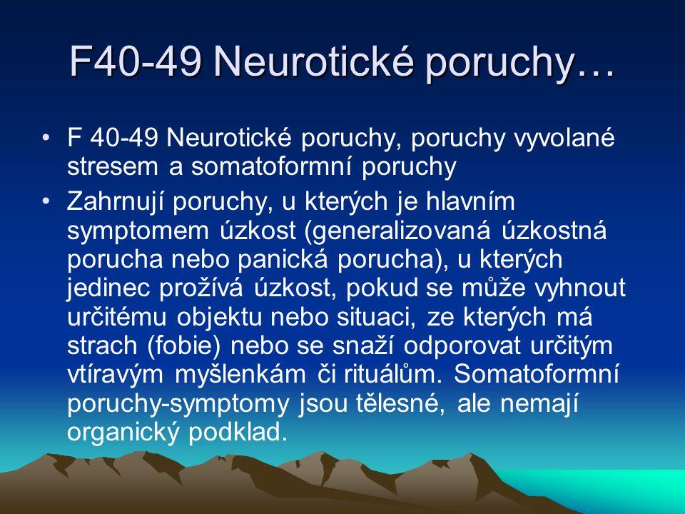 F 50-59 Behaviorální syndromy Poruchy příjmu potravy, neorganické poruchy spánku, sexuální dysfunkce a duševní porucha a porucha chování spojená se šestinedělím.