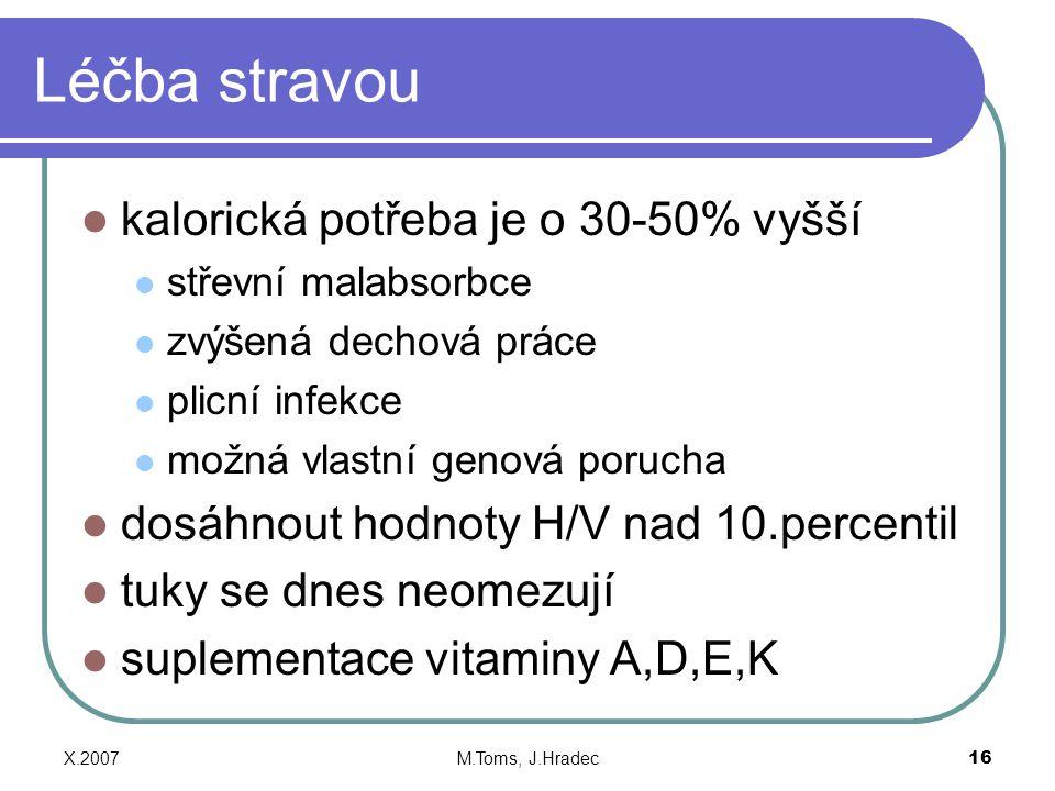 X.2007M.Toms, J.Hradec16 Léčba stravou kalorická potřeba je o 30-50% vyšší střevní malabsorbce zvýšená dechová práce plicní infekce možná vlastní genová porucha dosáhnout hodnoty H/V nad 10.percentil tuky se dnes neomezují suplementace vitaminy A,D,E,K