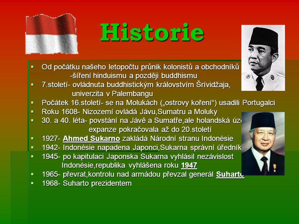 """Historie  Od počátku našeho letopočtu průnik kolonistů a obchodníků -šíření hinduismu a později buddhismu -šíření hinduismu a později buddhismu  7.století- ovládnuta buddhistickým královstvím Šrívidžaja, univerzita v Palembangu univerzita v Palembangu  Počátek 16.století- se na Molukách (""""ostrovy koření ) usadili Portugalci  Roku 1608- Nizozemí ovládá Jávu,Sumatru a Moluky  30."""