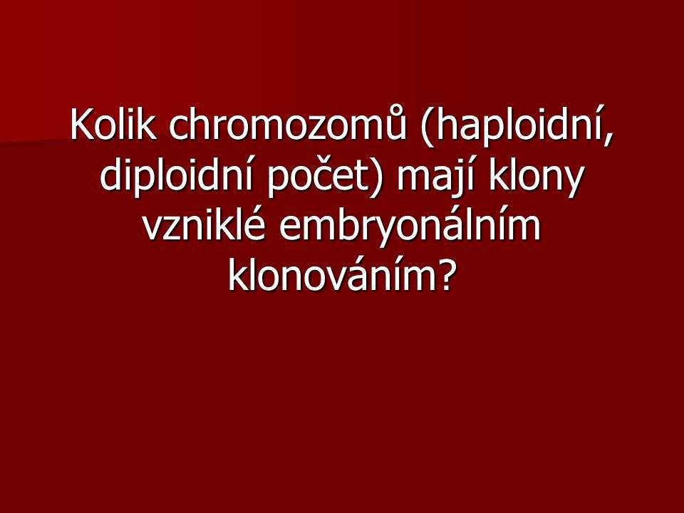 Kolik chromozomů (haploidní, diploidní počet) mají klony vzniklé embryonálním klonováním?