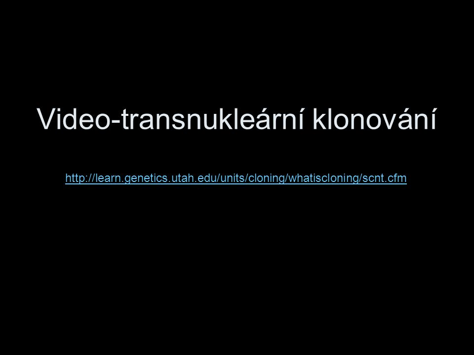 Video-transnukleární klonování http://learn.genetics.utah.edu/units/cloning/whatiscloning/scnt.cfm