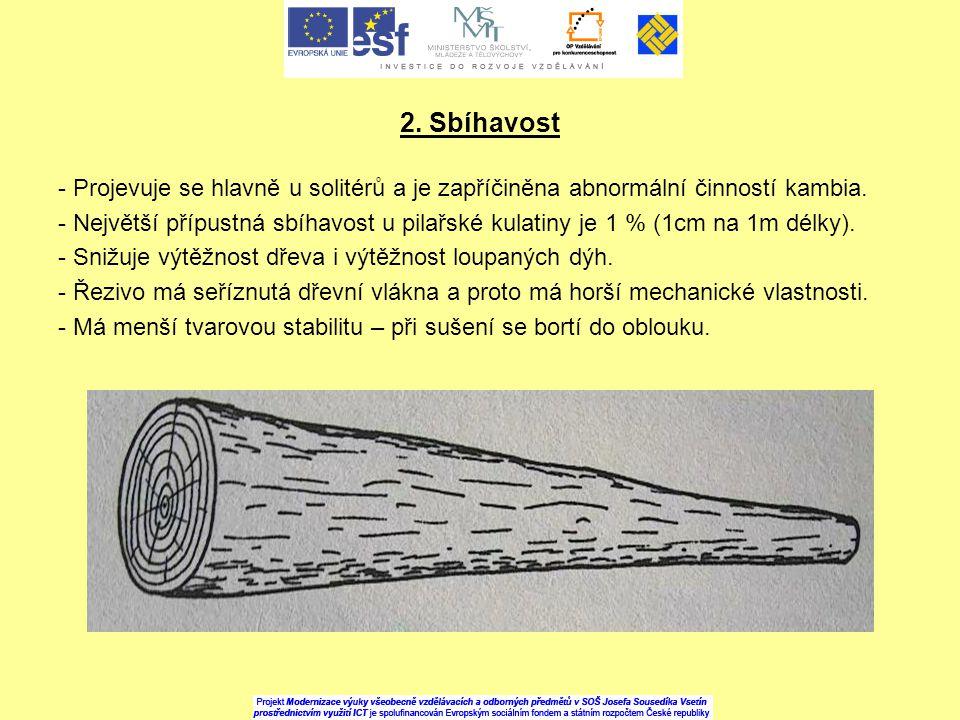 2. Sbíhavost - Projevuje se hlavně u solitérů a je zapříčiněna abnormální činností kambia. - Největší přípustná sbíhavost u pilařské kulatiny je 1 % (