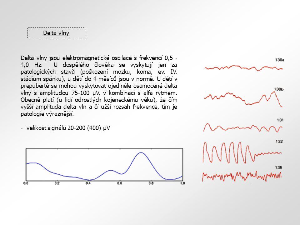 Delta vlny Delta vlny jsou elektromagnetické oscilace s frekvencí 0,5 - 4,0 Hz. U dospělého člověka se vyskytují jen za patologických stavů (poškození