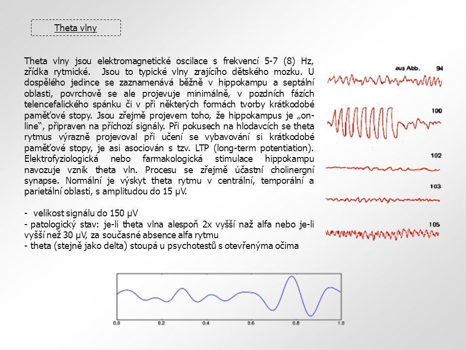 Theta vlny Theta vlny jsou elektromagnetické oscilace s frekvencí 5-7 (8) Hz, zřídka rytmické.