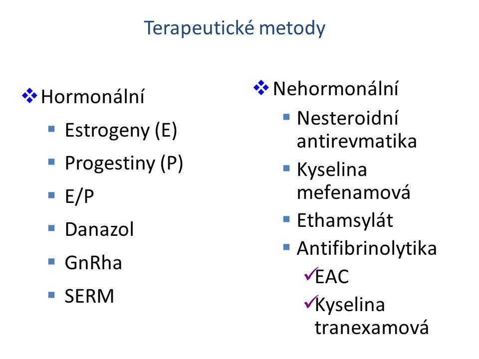  Hormonální  Estrogeny (E)  Progestiny (P)  E/P  Danazol  GnRha  SERM  Nehormonální  Nesteroidní antirevmatika  Kyselina mefenamová  Ethams