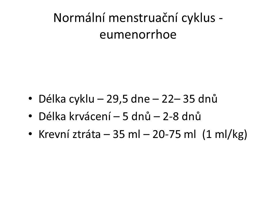 Normální menstruační cyklus - eumenorrhoe Délka cyklu – 29,5 dne – 22– 35 dnů Délka krvácení – 5 dnů – 2-8 dnů Krevní ztráta – 35 ml – 20-75 ml (1 ml/