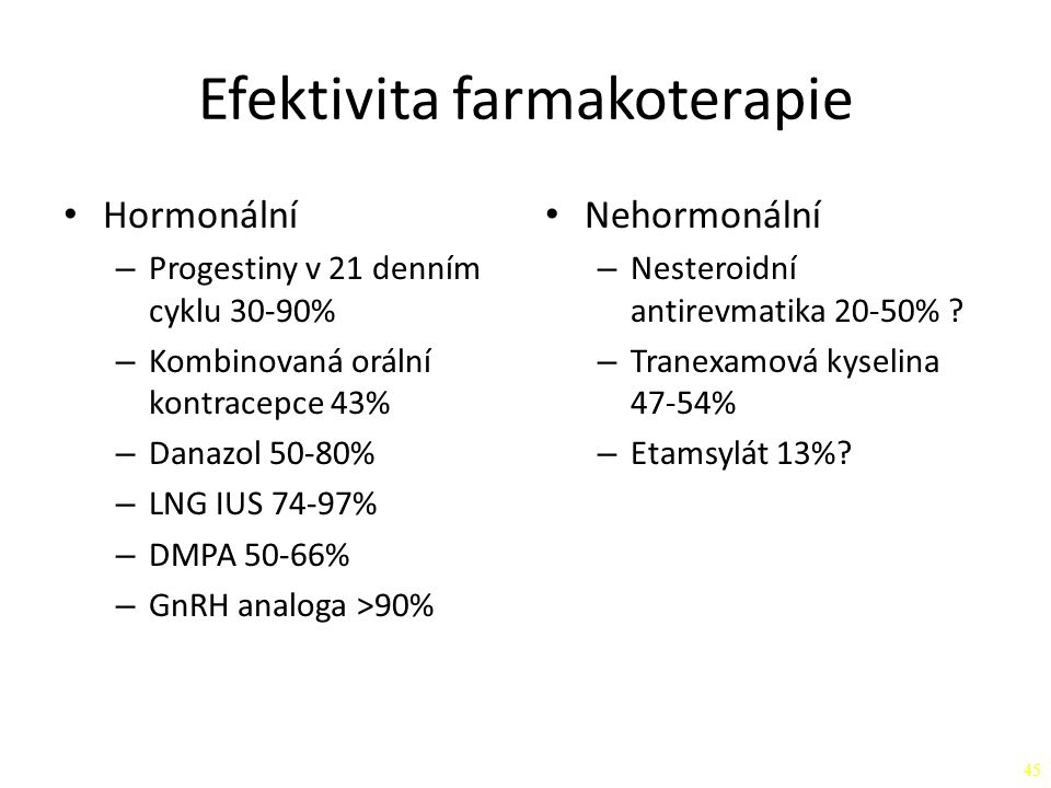 Efektivita farmakoterapie Hormonální – Progestiny v 21 denním cyklu 30-90% – Kombinovaná orální kontracepce 43% – Danazol 50-80% – LNG IUS 74-97% – DM