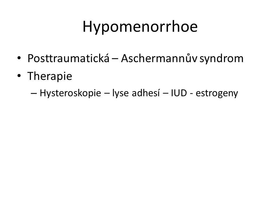 Hypomenorrhoe Posttraumatická – Aschermannův syndrom Therapie – Hysteroskopie – lyse adhesí – IUD - estrogeny