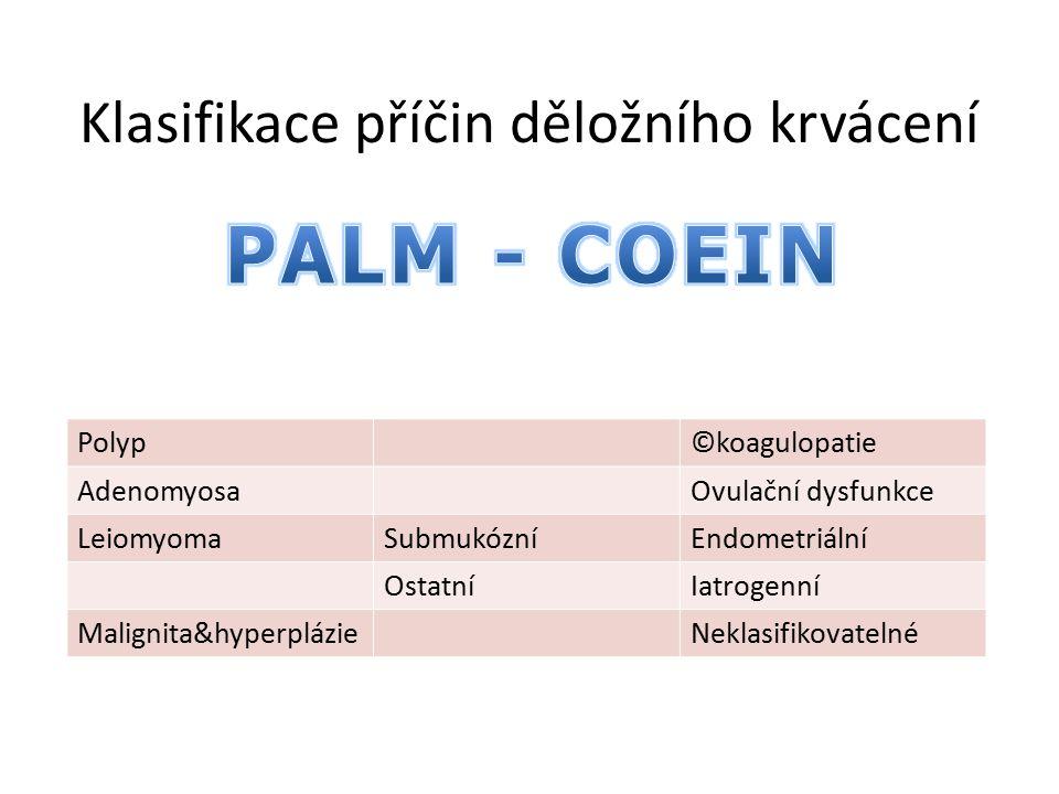 Klasifikace příčin děložního krvácení Polyp©koagulopatie AdenomyosaOvulační dysfunkce LeiomyomaSubmukózníEndometriální OstatníIatrogenní Malignita&hyp