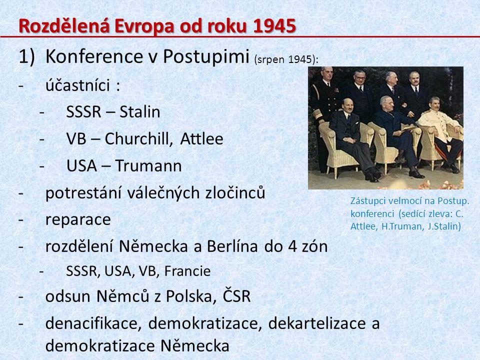 4)Mírová konference v Paříži: -1946 -byly zde podepsány mírové smlouvy s poraženými státy (Německo, Itálie, …) 5)Železná opona: -rozpory mezi vítěznými velmocemi, které se projevily již koncem války, se vyhrotily ihned po válce a rozdělily svět na: a)západ: -USA, VB, Francie, Itálie, … -jsou to státy s demokratických zřízením a tržním hospodářstvím b)východ: -SSSR -nedemokratické zřízení, zestátněné hospodářství, … -ve vlivu SSSR byly státy střední a východní Evropy (na východ od demarkační linie) Začalo období studené války.