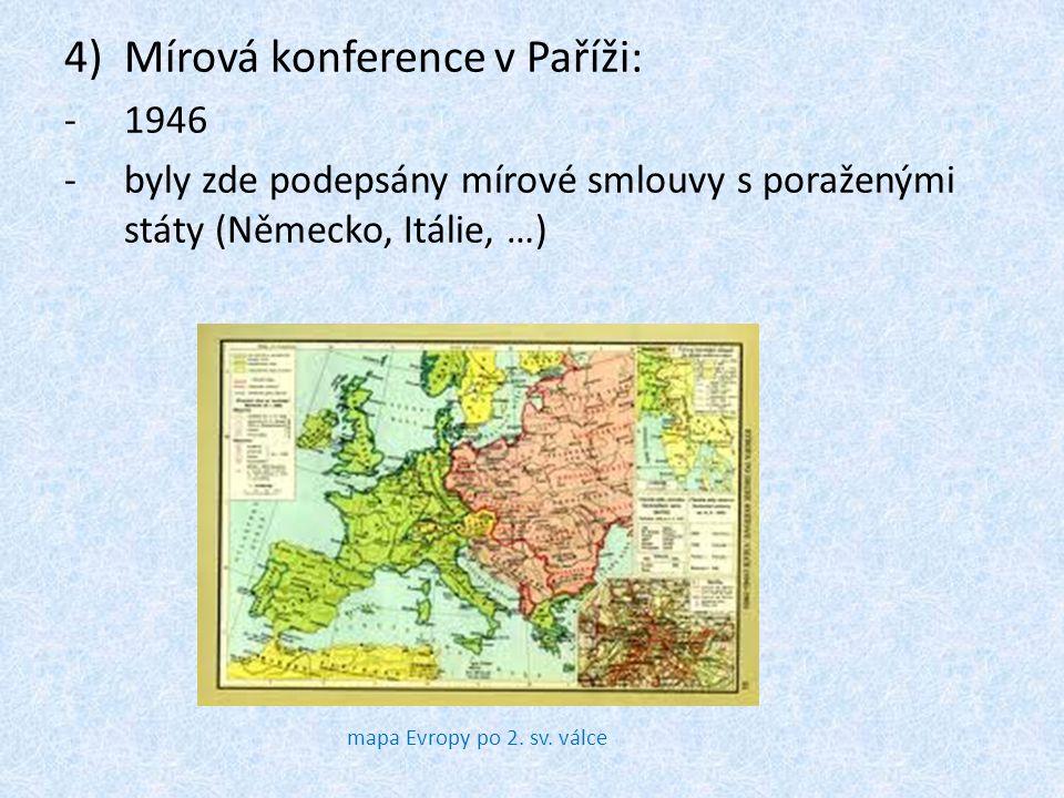 4)Mírová konference v Paříži: -1946 -byly zde podepsány mírové smlouvy s poraženými státy (Německo, Itálie, …) mapa Evropy po 2. sv. válce
