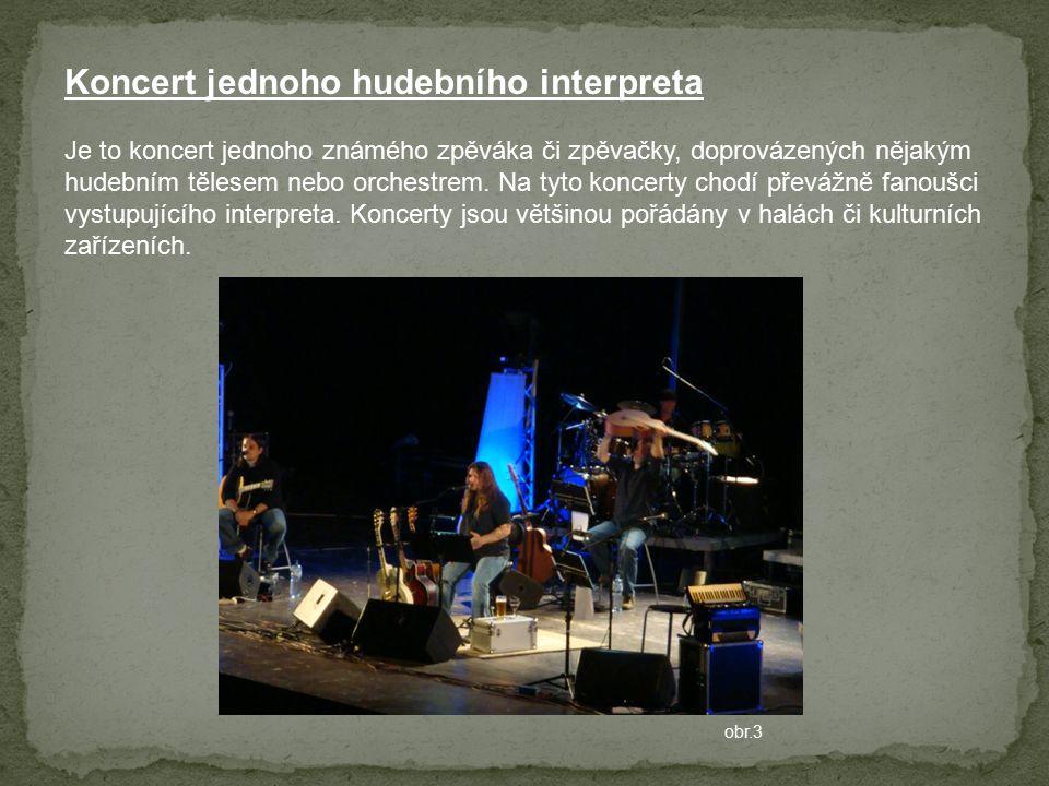 Je to koncert jednoho známého zpěváka či zpěvačky, doprovázených nějakým hudebním tělesem nebo orchestrem. Na tyto koncerty chodí převážně fanoušci vy