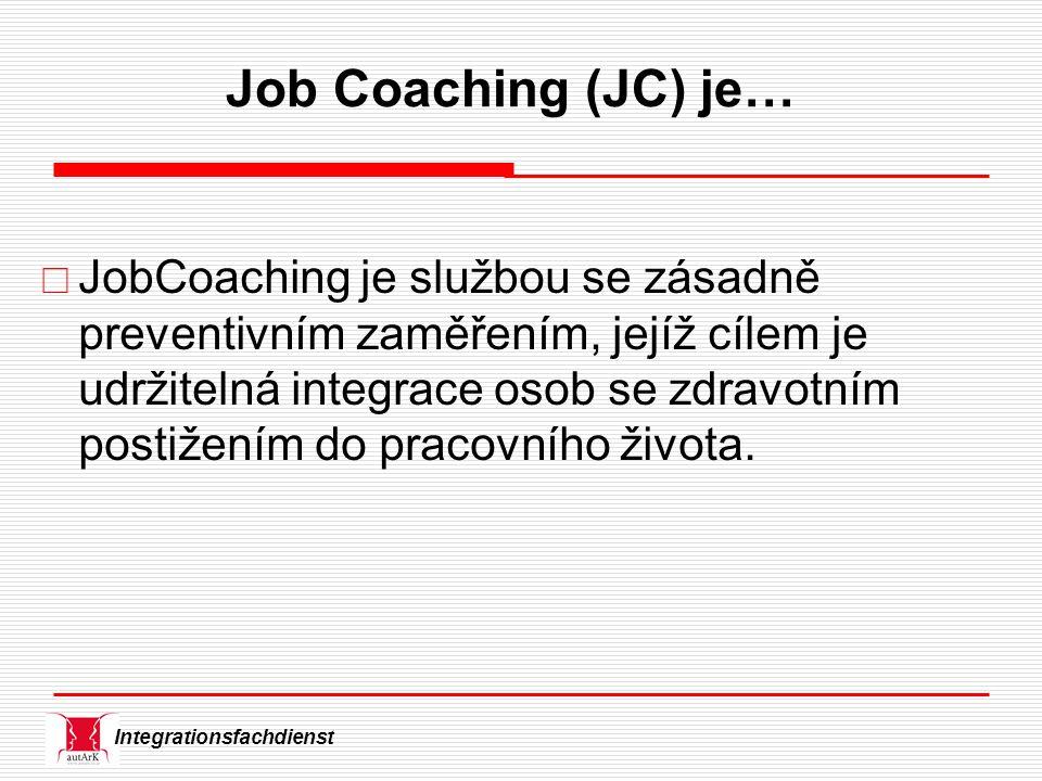 Integrationsfachdienst Job Coaching (JC) je…  JobCoaching je službou se zásadně preventivním zaměřením, jejíž cílem je udržitelná integrace osob se zdravotním postižením do pracovního života.