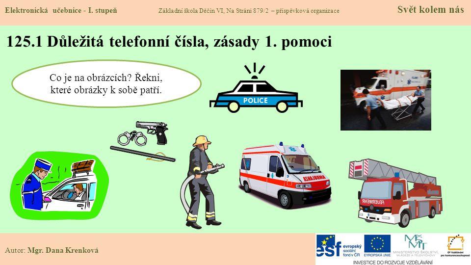 125.1 Důležitá telefonní čísla, zásady 1.pomoci Elektronická učebnice - I.