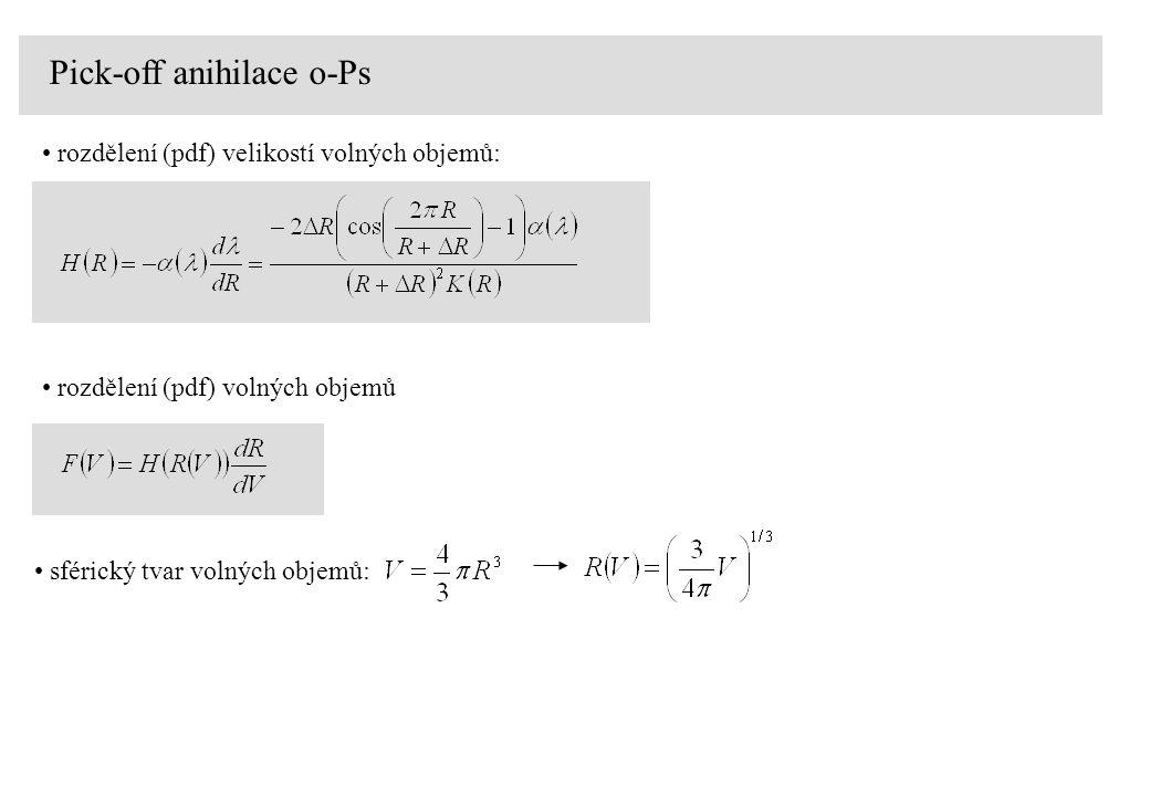 Pick-off anihilace o-Ps rozdělení (pdf) velikostí volných objemů: rozdělení (pdf) volných objemů sférický tvar volných objemů: