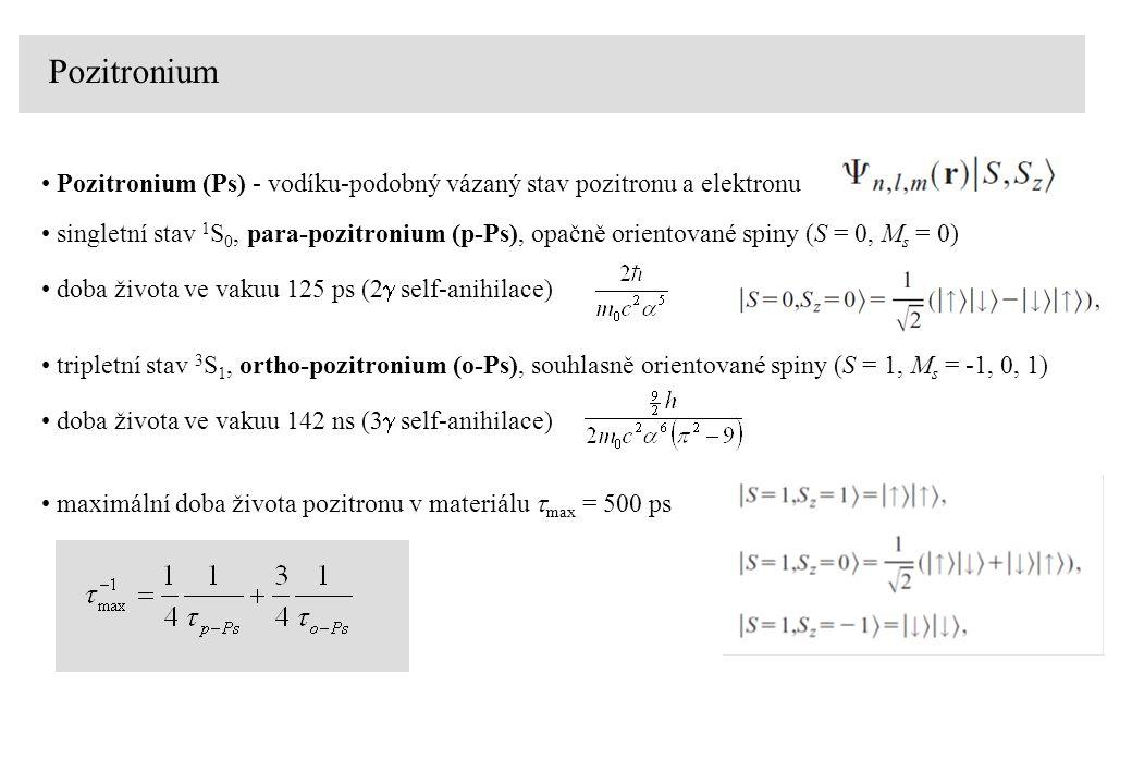 Pozitronium Pozitronium (Ps) – energetické hladiny analogicky jako u atomu vodíku, ale redukovaná hmotnost je zhruba poloviční redukovaná hmotnost Ps: energetické hladiny Ps: základní stav Ps: 1.