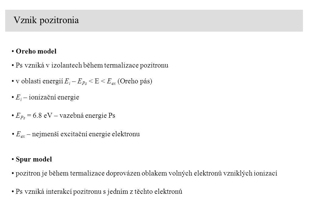 Vznik pozitronia Ps vzniká v izolantech během termalizace pozitronu Oreho model v oblasti energií E i – E Ps < E < E ex (Oreho pás) E i – ionizační energie E Ps = 6.8 eV – vazebná energie Ps E ex – nejmenší excitační energie elektronu pozitron je během termalizace doprovázen oblakem volných elektronů vzniklých ionizací Spur model Ps vzniká interakcí pozitronu s jedním z těchto elektronů