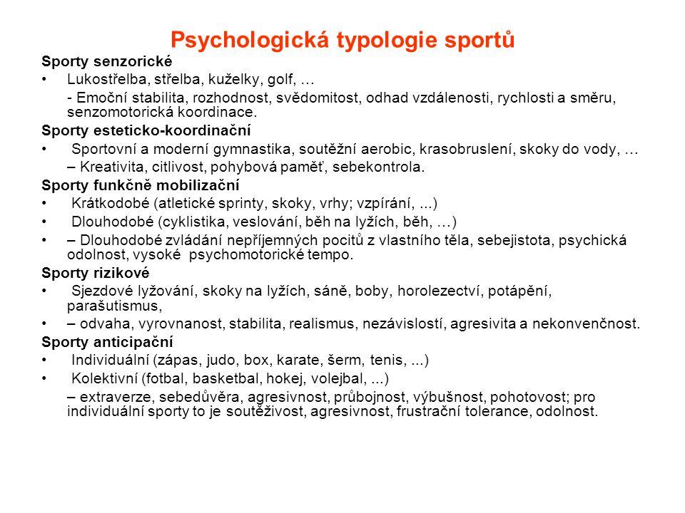 Psychologická typologie sportů Sporty senzorické Lukostřelba, střelba, kuželky, golf, … - Emoční stabilita, rozhodnost, svědomitost, odhad vzdálenosti, rychlosti a směru, senzomotorická koordinace.