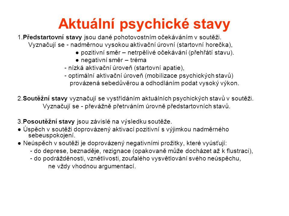 Aktuální psychické stavy 1.Předstartovní stavy jsou dané pohotovostním očekáváním v soutěži.