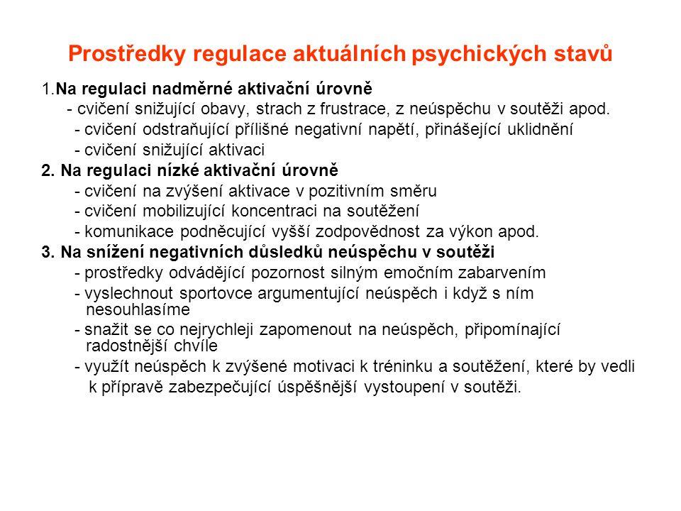 Prostředky regulace aktuálních psychických stavů 1.Na regulaci nadměrné aktivační úrovně - cvičení snižující obavy, strach z frustrace, z neúspěchu v soutěži apod.