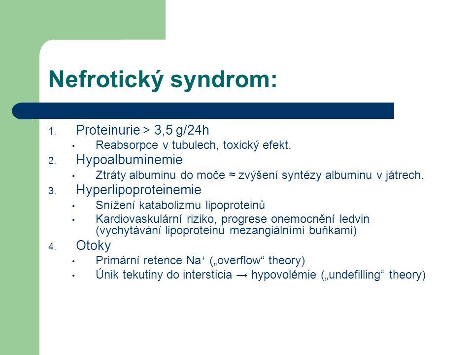 Nefrotický syndrom: 1. Proteinurie > 3,5 g/24h Reabsorpce v tubulech, toxický efekt. 2. Hypoalbuminemie Ztráty albuminu do moče ≈ zvýšení syntézy albu