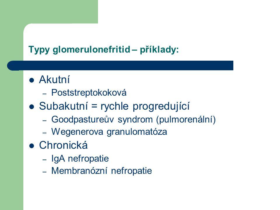 Typy glomerulonefritid – příklady: Akutní – Poststreptokoková Subakutní = rychle progredující – Goodpastureův syndrom (pulmorenální) – Wegenerova gran
