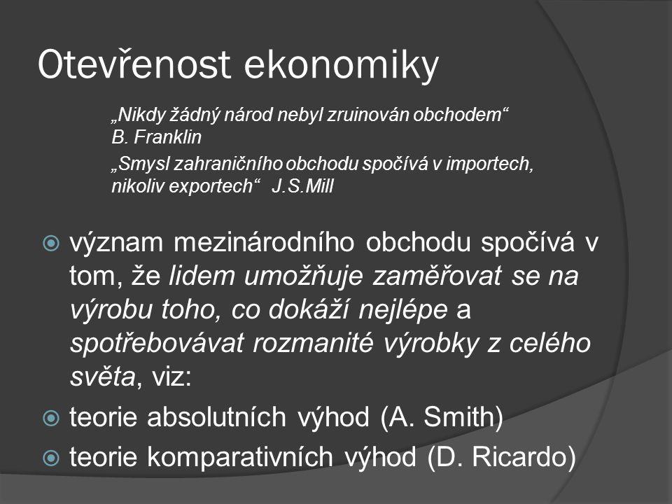 Otevřenost ekonomiky  otevřenost ekonomiky = míra zapojenosti národní ekonomiky do mezinárodních ekonomických vztahů.