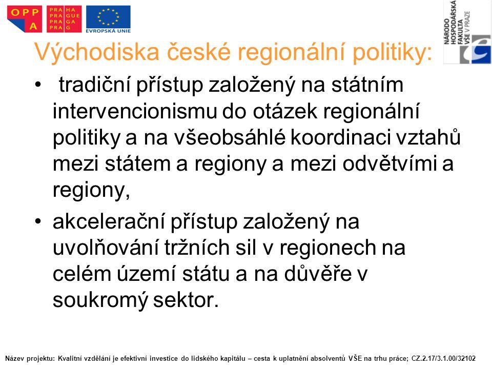 Východiska české regionální politiky: tradiční přístup založený na státním intervencionismu do otázek regionální politiky a na všeobsáhlé koordinaci vztahů mezi státem a regiony a mezi odvětvími a regiony, akcelerační přístup založený na uvolňování tržních sil v regionech na celém území státu a na důvěře v soukromý sektor.