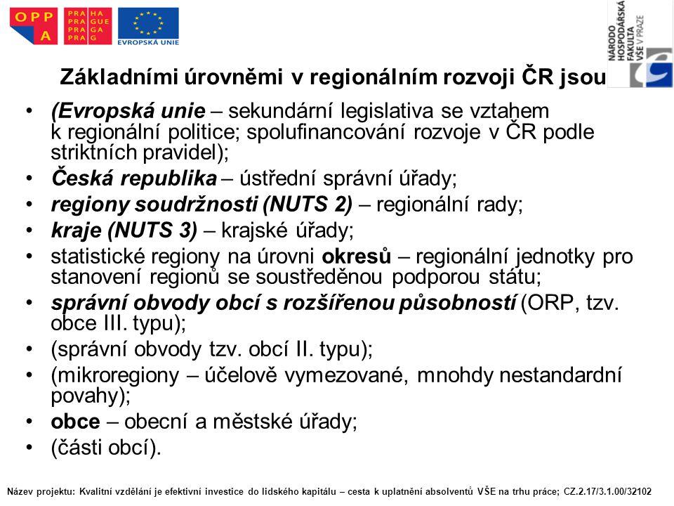 Základními úrovněmi v regionálním rozvoji ČR jsou: (Evropská unie – sekundární legislativa se vztahem k regionální politice; spolufinancování rozvoje v ČR podle striktních pravidel); Česká republika – ústřední správní úřady; regiony soudržnosti (NUTS 2) – regionální rady; kraje (NUTS 3) – krajské úřady; statistické regiony na úrovni okresů – regionální jednotky pro stanovení regionů se soustředěnou podporou státu; správní obvody obcí s rozšířenou působností (ORP, tzv.